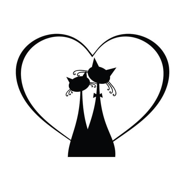 Černá samolepka na vypínač Ambiance Cat Couple