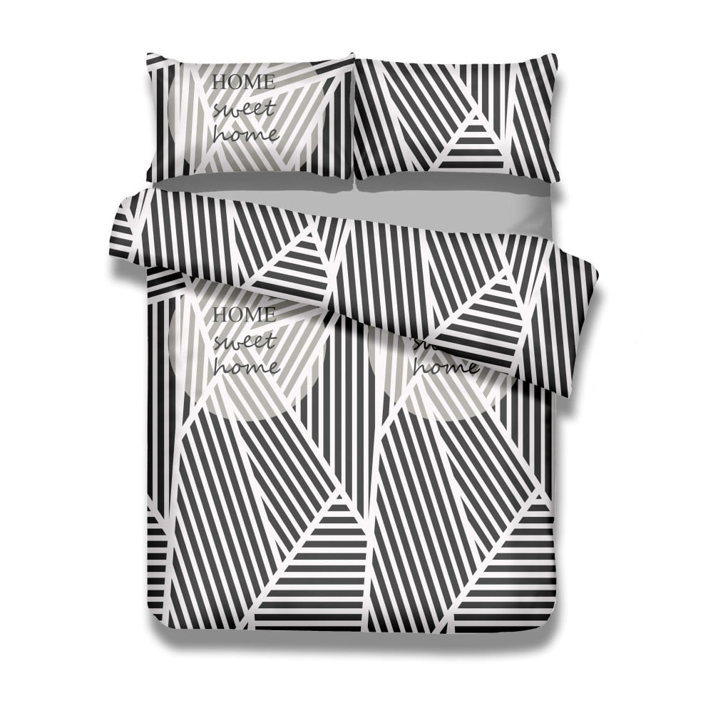 Produktové foto Sada bavlněného povlaku na peřinu a 2 povlaků na polštáře AmeliaHome Averi Sweet Home Light, 200 x 200 cm + 80 x 80 cm
