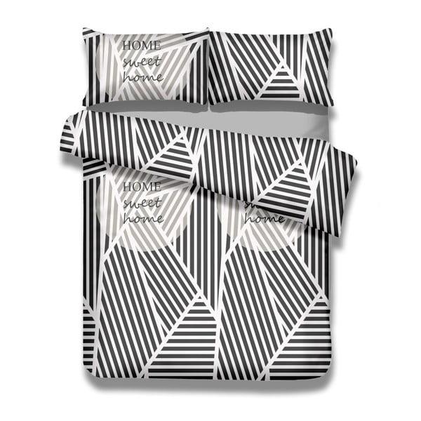 Sada bavlněného povlaku na peřinu a 2 povlaků na polštáře AmeliaHome Averi Sweet Home Light, 200 x 200 cm + 80 x 80 cm