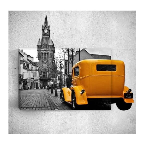 Yellow Retro Car In City 3D fali kép, 40 x 60 cm - Mosticx