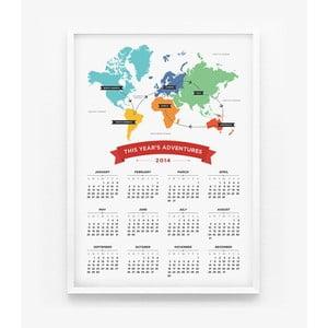Kalendář na rok 2014 - World Map Calendar