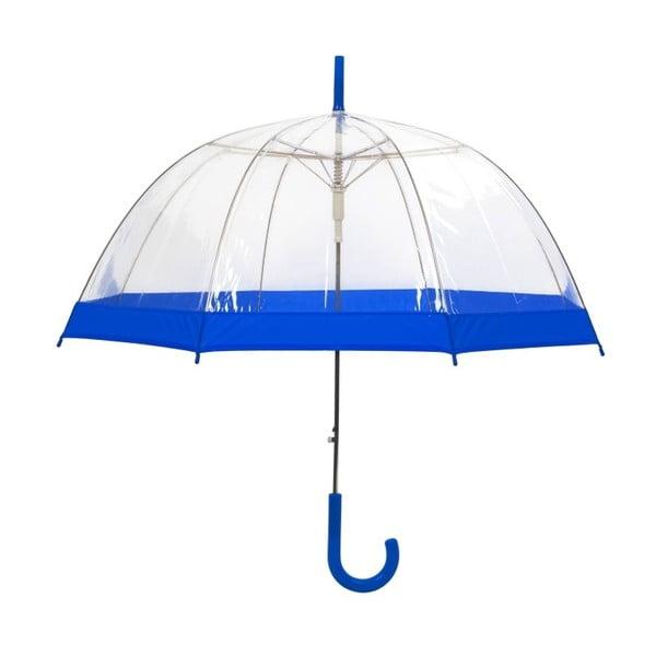Transparentní holový deštník s modrými detaily Ambiance Birdcage Border, ⌀85cm