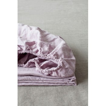 Cearșaf elastic din in Linen Tales, 90 x 200 cm, violet lavandă imagine