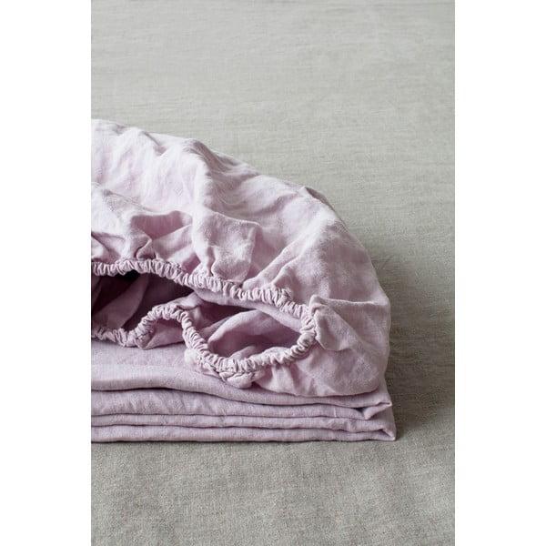 Cearșaf elastic din in Linen Tales, 90 x 200 cm, violet lavandă