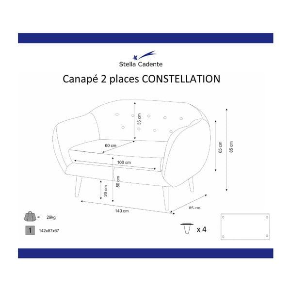 Canapea cu 2 locuri Scandi by Stella Cadente Maison Constellation, mov