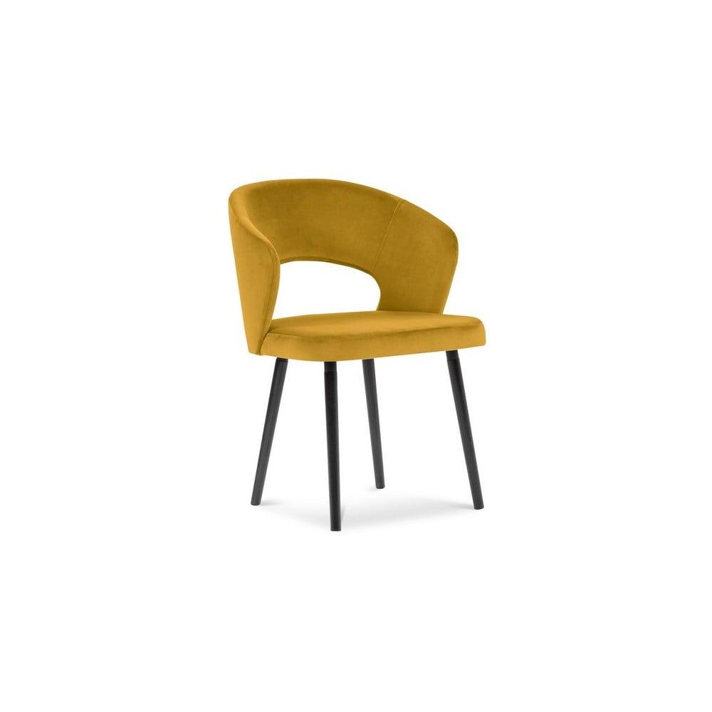 Produktové foto Žlutá jídelní židle se sametovým potahem Windsor & Co Sofas Elpis