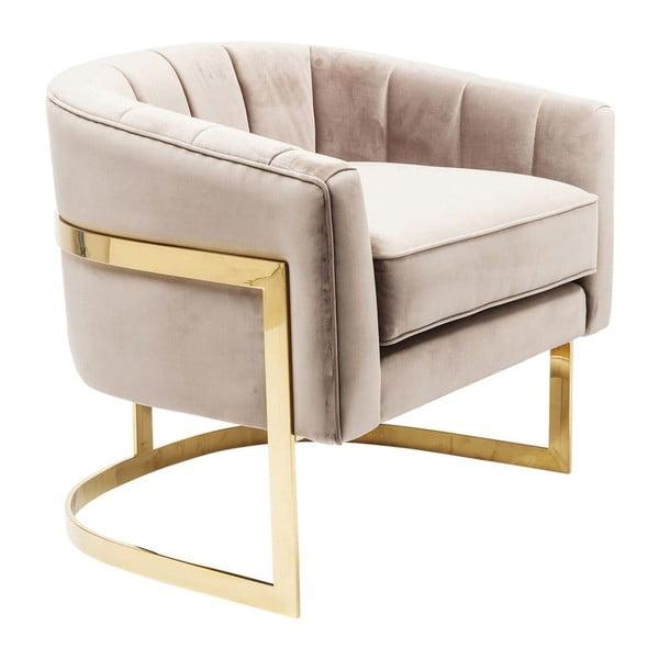 Béžové křeslo s detaily ve zlaté barvě Kare Design Pure Elegance