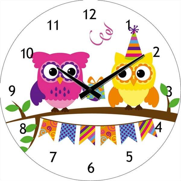 Skleněné hodiny Párty sovičky, 30 cm