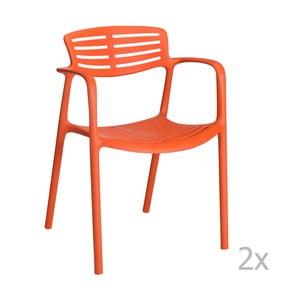 Sada 4 oranžových zahradních židlí s područkami Resol Toledo Aire