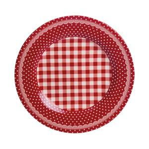 Jídelní talíř Red Dots&Checks, 25.5 cm