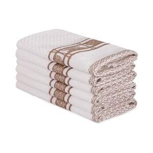 Sada 6 béžových bavlněných ručníků Beyaz Lucmeno, 30 x 50 cm