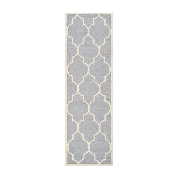 Vlněný koberec Everly 76x243 cm, světle šedý