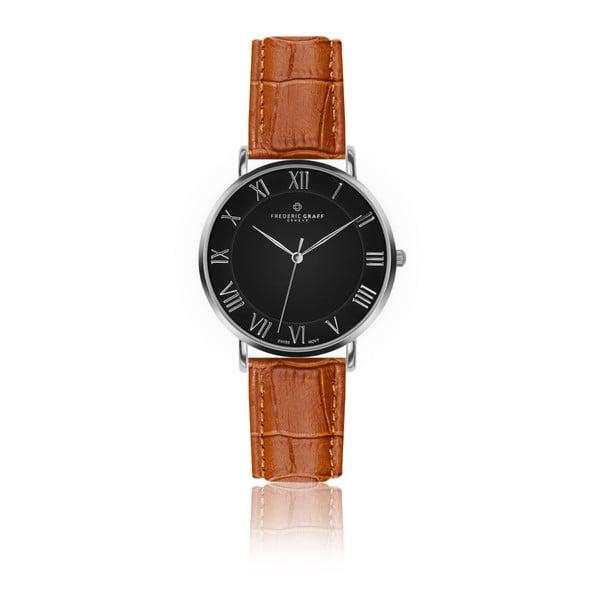Pánske hodinky s koňakovohnedým remienkom z pravej kože Frederic Graff Silver Dom Croco Ginger