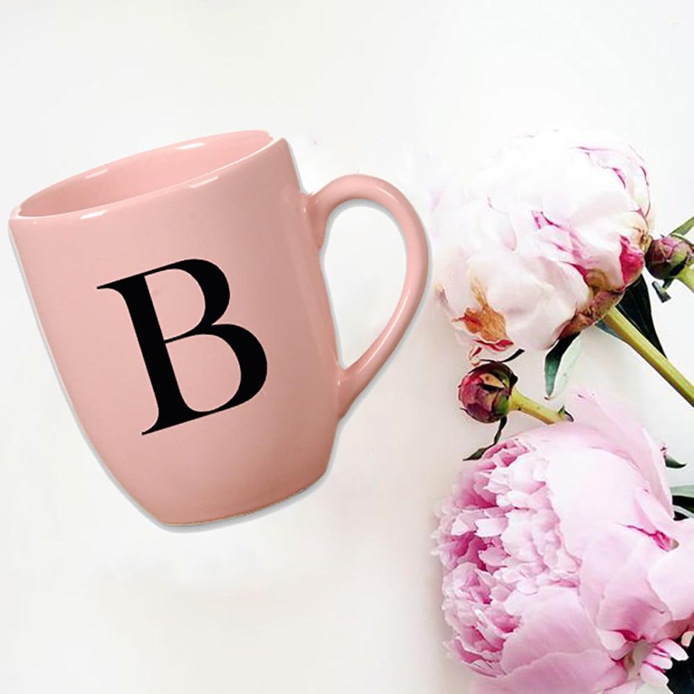 Růžový keramický hrneček Vivas Letter B, 330ml