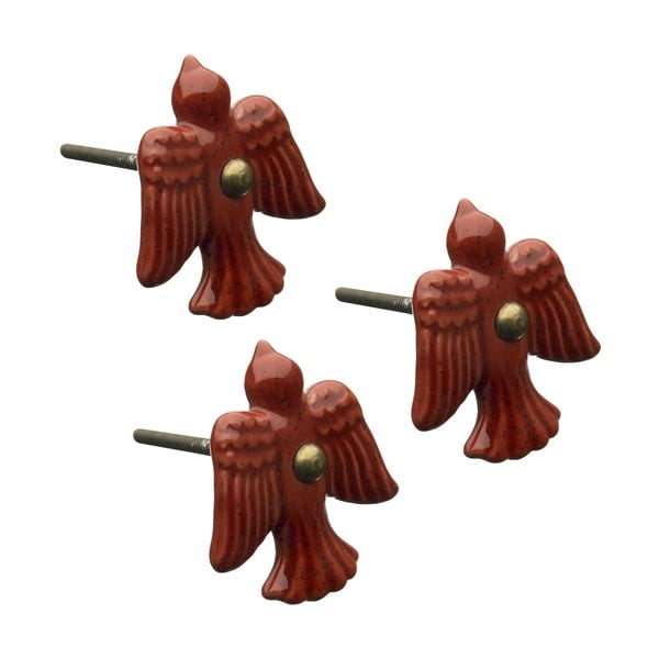 Porcelánové úchytky Red Bird, 3 ks