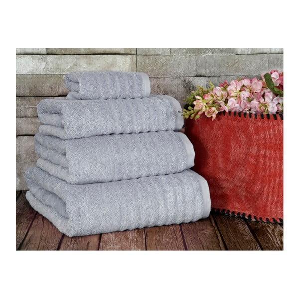 Šedý ručník Irya Home Wellas Bamboo, 50x90 cm