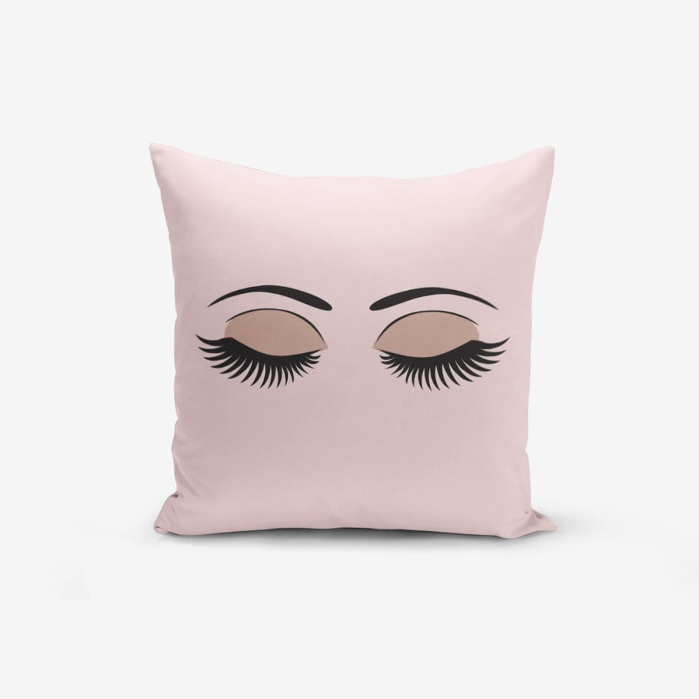 Povlak na polštář s příměsí bavlny Minimalist Cushion Covers Eye & Lash, 45 x 45 cm