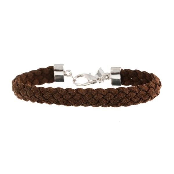 Náramek Strand braided silver, dark brown