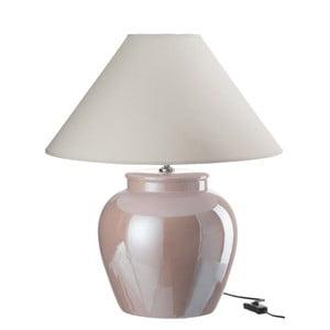 Růžová kameninová stolní lampa se stínidlem J-Line