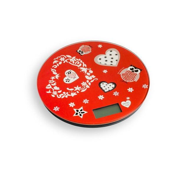 Incanto piros konyhai digitális mérleg, ⌀ 18,5 cm - Brandani
