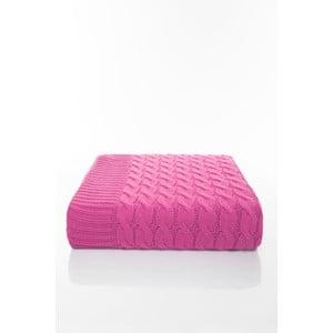 Růžová deka Home De Bleu Braid, 170 x 13 cm