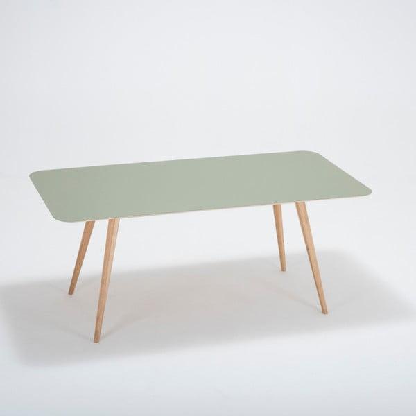 Jídelní stůl z masivního dubového dřeva se zelenou deskou Gazzda Linn, 180x90cm
