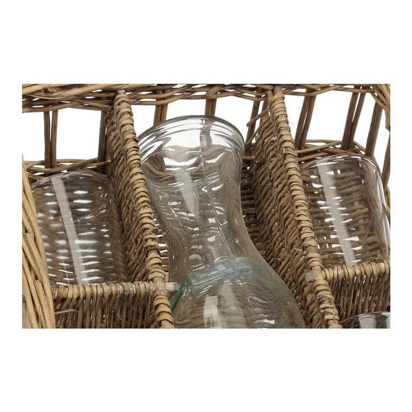 Košík s karafou a 4 sklenicemi