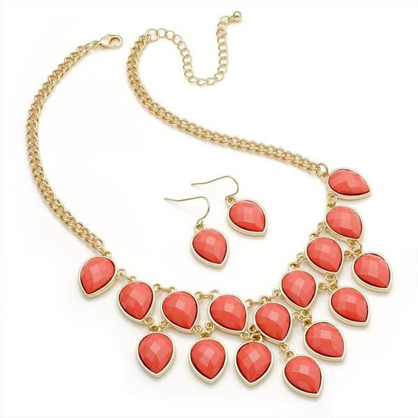 Set náhrdelník a náušnice Lauren Red