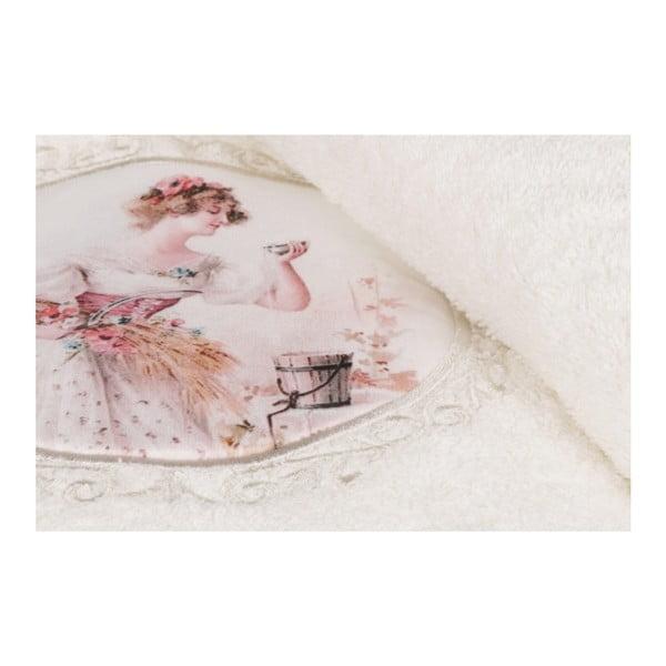 Set bílého ručníku a bílé osušky s barevným detailem Mademoiselle