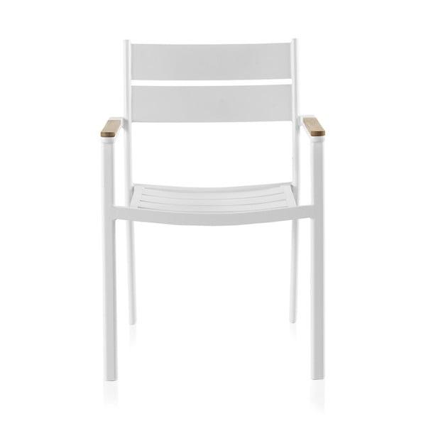 Biela záhradná stolička s týkovým drevom Geese Giulia, šírka 56 cm