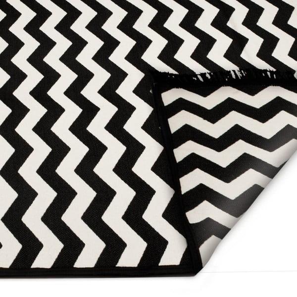 Černo-bílý oboustranný koberec Zig Zag, 120x180cm