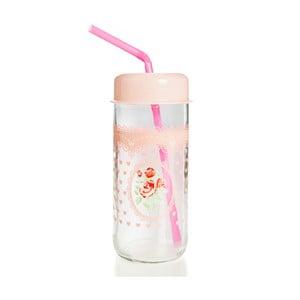 Sklenice s růžovým víčkem a brčkem Mezzo Jar