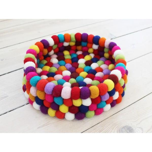 Tmavočervený guľôčkový vlnený úložný košík Wooldot Ball Basket, ⌀ 28 cm