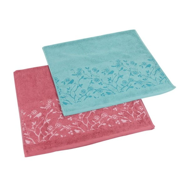 Sada 2ks ručníků Antenne Bleu-Cerise, 50x90 cm