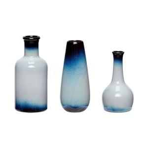 Sada 3 modrobílých keramických váz Hübsch Frej