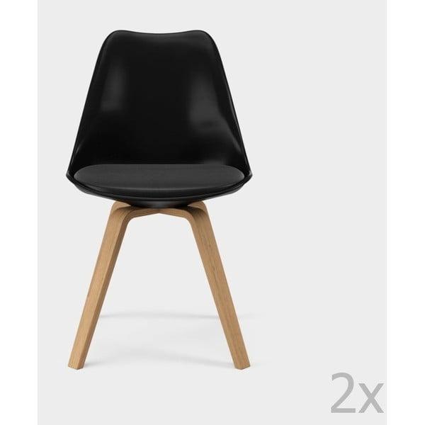 Zestaw 2 czarnych krzeseł Tenzo Gina