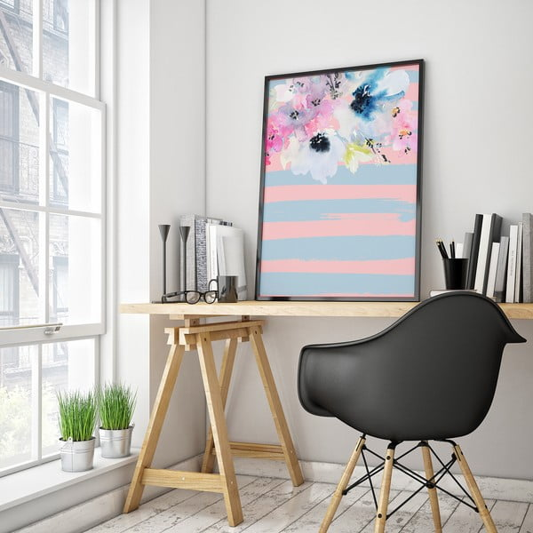 Plakát s květinami, modro-růžové pozadí, 30 x 40 cm