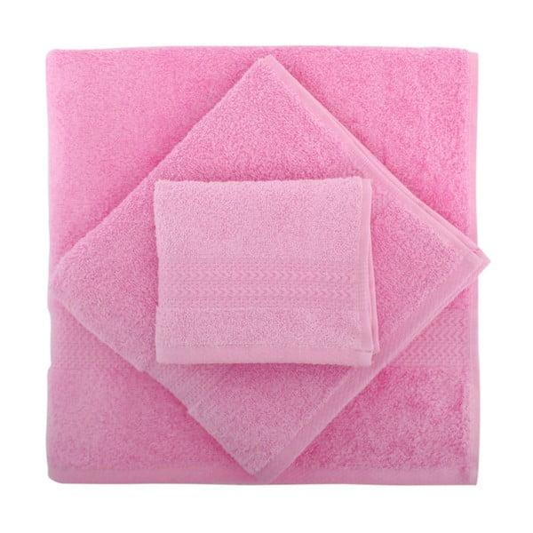 Sada 3 růžových ručníků Rainbow