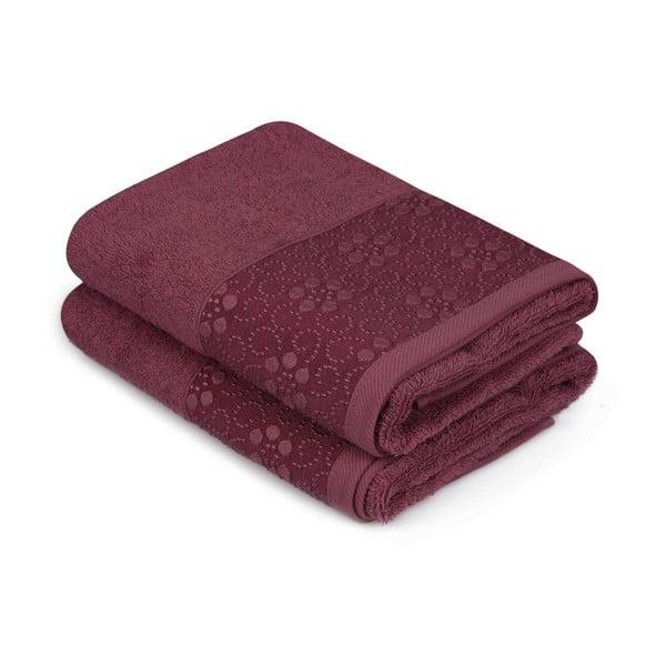 Sada 2 tmavě červených ručníků z čisté bavlny Grande, 50 x 90 cm