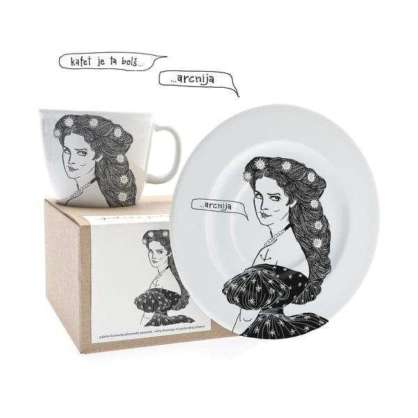 Hrnek a talířek Sisi, ta potetovaná