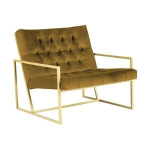 Hořčicově žluté křeslo s konstrukcí ve zlaté barvě Mazzini Sofas Bono