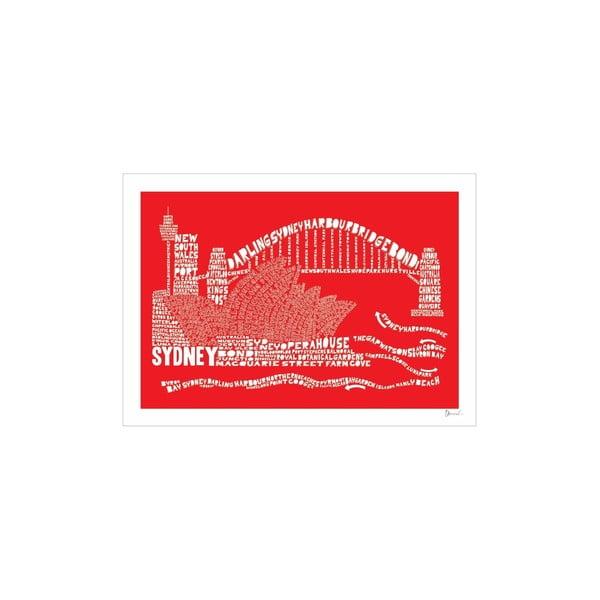 Plakát Sydney Red&White, 50x70 cm