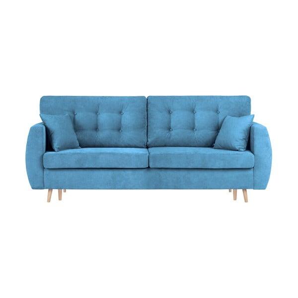 Amsterdam háromszemélyes kék kinyitható kanapé tárolóval, 231 x 98 x 95 cm - Cosmopolitan design