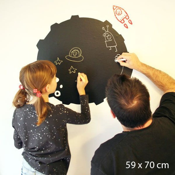 Samolepka Planet Blackboard, 70x59 cm