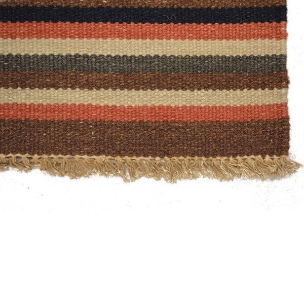 Ručně tkaný koberec Red Brown Stripes, 140x200 cm