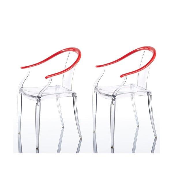 Sada 2 židlí Mi Ming, červená
