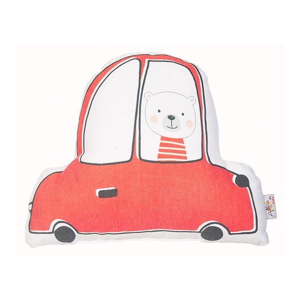 Pernă din amestec de bumbac pentru copii Apolena Pillow Toy Car, 25 x 30 cm, roșu