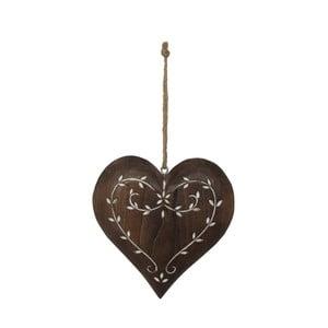 Dřevěná závěsná dekorace ve tvaru srdce AnticLine Anna