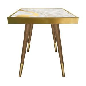 Příruční stolek Caresso Gold Marble Square, 45 x 45 cm
