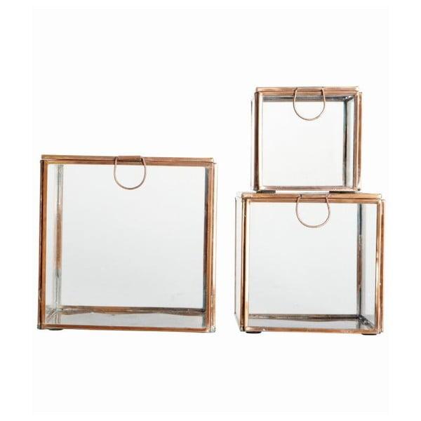 Sada 3 skleněných boxů Copper